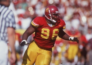 14 Oct 1995: Defensive lineman Darrell Russell of USC in action during the Trojans 26-14 win over Washington State at the Memorial Coliseum in Los Angeles, California.