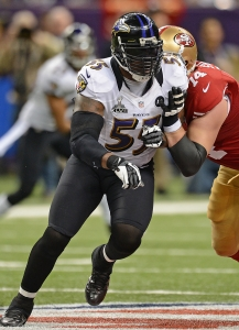Terrell Suggs in Super Bowl XLVII (photo courtesy Ravens)